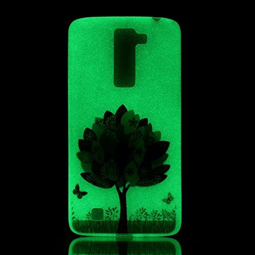 LG K7TPU Teléfono Móvil, LG K7móvil, jawseu Ultra Fina suave flexible Night Luminous Amor Patrón Transparente posterior Carcasa Funda CRYSTAL Bombilla Extremo de noche protectora TPU Silicona Transp Schmetterling Baum