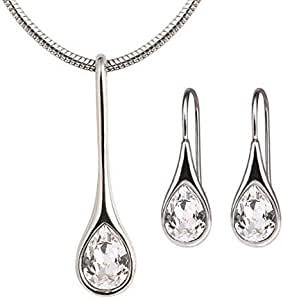 Mestige Rhodium Plated Iris Crystal Jewelry Set - 2 Pieces, MSSE3117 (Silver)