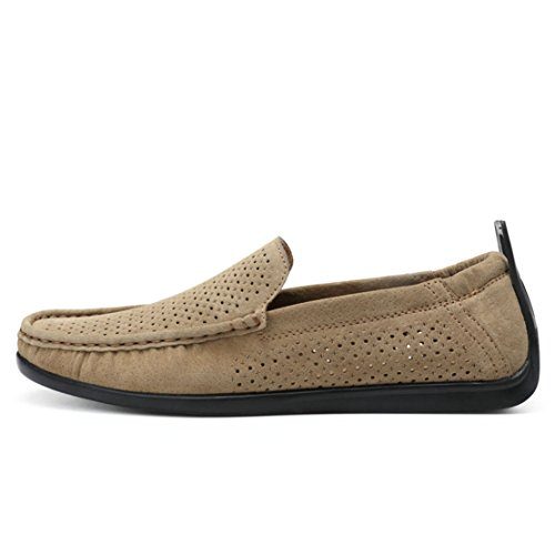 Go Tour Mens Casual Rubber Sole Driving Loafers Stitched Lining Slip On Boat Shoes E-khaki 1T5nLkA