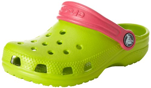 crocs Unisex-Kinder Classic Kids Clogs, schwarz, 19-21EU Grün (Volt Green/Raspberry)