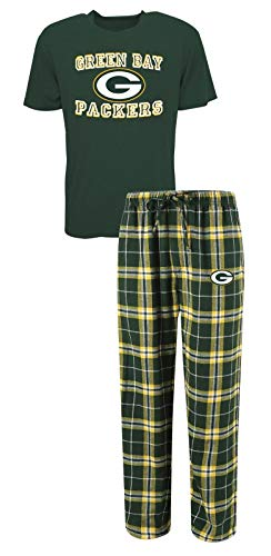 Concepts Sport Green Bay Packers NFL Great Duo Men's T-Shirt & Flannel Pajama Sleep Set