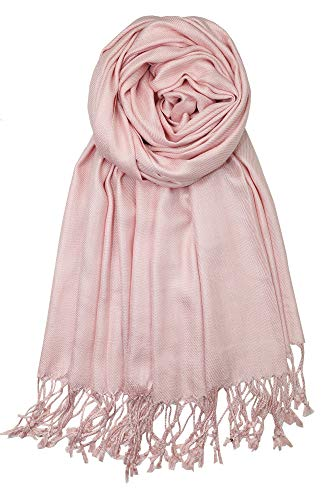 Achillea Large Soft Silky Pashmina Shawl Wrap Scarf in Solid Colors (Baby Pink)