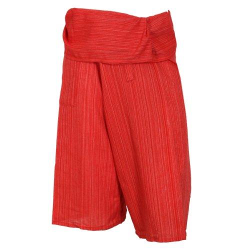Pêcheur Rayures De Peu Marquées Carmin Avec 100 Coton Thaïlandais Short Rouge Pantalon Et TH8WAwRt