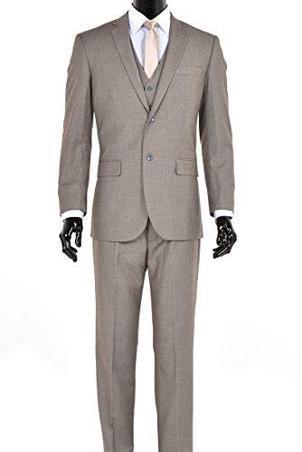 King Formal Wear Elegant Men's Modern Fit Three Piece Two Button Suit - Many Colors (46 Regular, Sand)