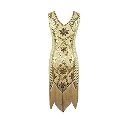 LONGTA 1920s Sequined Embellished Tassels Hem Flapper Dress