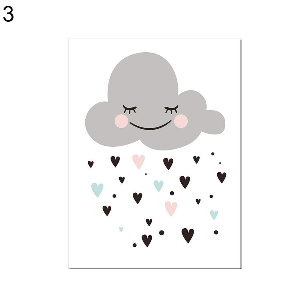 856store Creative Cartoon Moon Star Cloud Poster Wall Art Picture Canvas Painting Kids Room Decor - 3# 2130cm