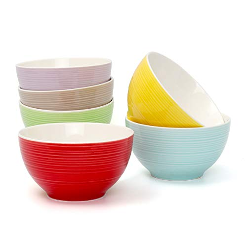 Hsofblues Small Porcelain Bowls for Cream, Dessert, Small Side Dishes, Salad, Rice, Soup,Snack, Fruit, Dip 12 oz - Set of 6 Microwave Safe, Assorted Colors - Green Cream Soup Bowl