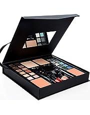 ASSR All-in-One Makeup Kit, Starter Makeup Artist Set 24 Colors Eyeshadow Palette,2 Foundations,2 Blush,2 Brow Brush,1 Mascara,2 Eyeliners,2 Lipsticks,2 Nail Polishes,1 Eye Shadow Brush,1 Mirror