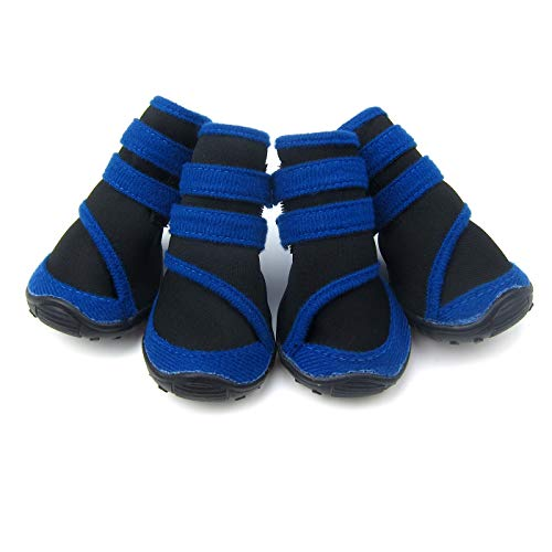 Alfie Pet by Petoga Couture - Moriah All Weather Set of 4 Dog Boots - Color: Blue, Size: Small