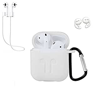 Haotop 4 in 1 Case Compatible with Apple AirPods,Silicone Skin with Keychain with Ear Hook for Apple AirPods 2/AirPods 1 (White)