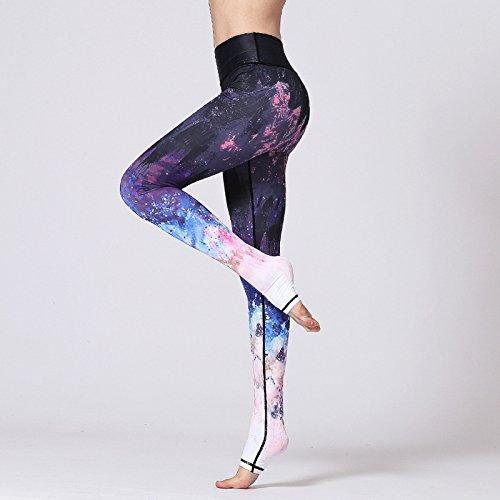 JIALELE Yogahose Yoga Yoga Hosen Hosen_Sky Gradient Stempel Hosen Weiblich