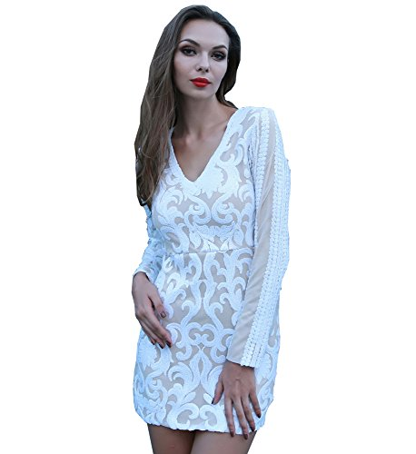 Blanco Para Manga Noche Vestido Missord Larga Mujer xwfInYq0AE
