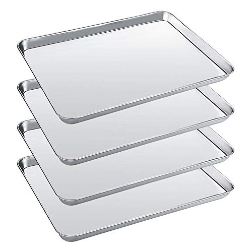 (Baking Sheet Set of 4 Trays Stainless Steel Bakeware Oven Pans Baking Pans Cookie Sheet 4 Pieces (Non Toxic & Dishwasher Safe,Sturdy & Rustproof, Easy Clean & Healthy)-16