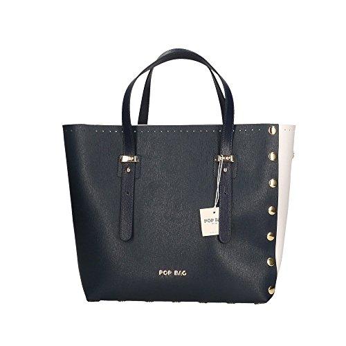 Italy Bags in POP Made Mano Blu a Borsa Bianco Vera in Blu 28x27x13 Saffiano Pelle Cm Stampa Aqdqzw8x