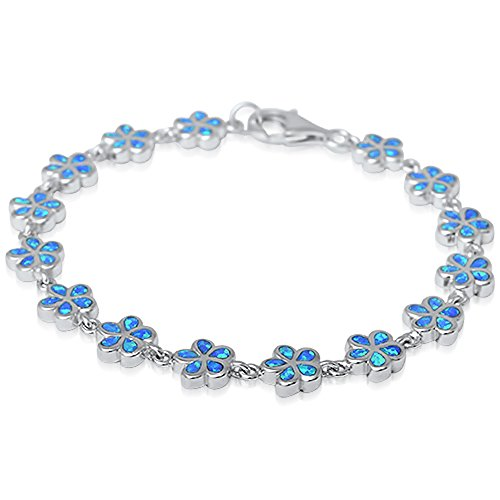 (Oxford Diamond Co Lab Created Blue Opal Plumeria .925 Sterling Silver)