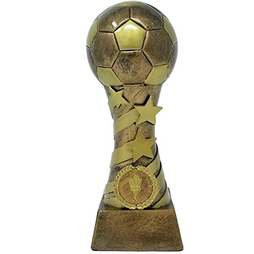 (⚽ Soccer Star Spiral Trophy ⚽ Futbol Gold Tower Award | 8 Inch Tall - Free Engraved Plate on Request - Decade Awards)