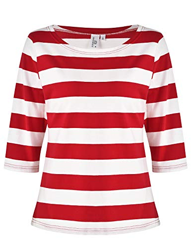 MISS MOLY Women's Contrast Color 3/4 Sleeve Cotton Stripes Halloween Cosplay T-Shirt Tops Casual Tees ()