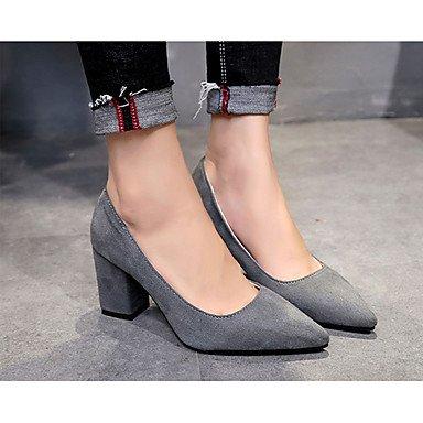FYios Tacones mujer bomba básica formal PU Confort Zapatos Primavera Verano Oficina &Amp; Carrera de bomba básica vestir zapatos formales comodidad Chunky HeelGray US9 / EU40 / UK7 / CN41