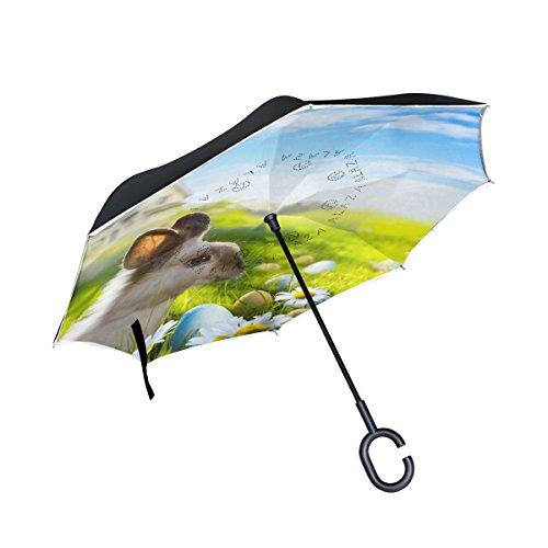 ALAZA Easter Egg Rabbit Landscape Nature Inverted Umbrella,
