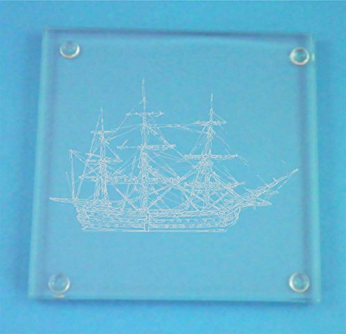 - Set of 4 Glass Coasters With HMS Victory Design Presented In Gift Box