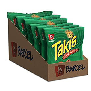 Barcel Takis - Crunchy Rolled Tortilla Chips – Crunchy Fajita Flavor, Box with 6 Bags (4 oz each)