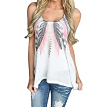 Women Tank Feather Tops Sleeveless Shirts Blouse Casual T-Shirt by TOPUNDER