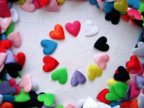 - 200 Assorted Mini Satin Heart 1cm Applique/cute/10 Colors/Sewing/Trim/Padded #ID-884