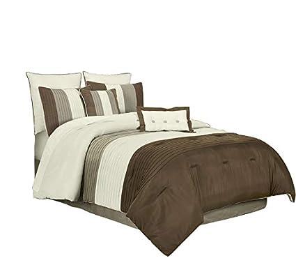 Amazon.com: Chezmoi Collection 8 Pieces Luxury Striped Comforter