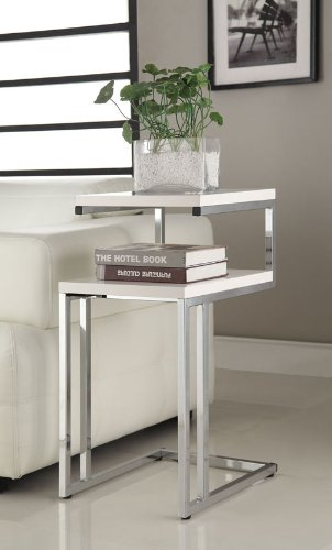 - White Finish Chrome Chair Side End Snack Table