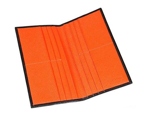 SAGEBROWN Black With Orange Textured Slim Top Pocket Wallet by Sage Brown