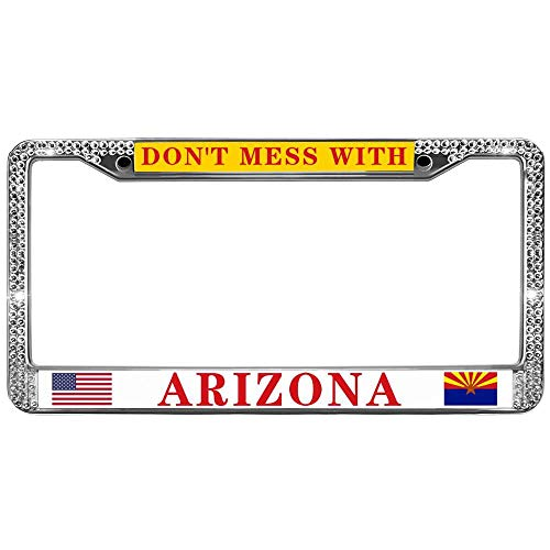 - GND Don't Mess with Arizona State Bling License Plate Frame for Car,Crystal Diamond Bling License Plate Frame American States Vehicle License Plate Frame with Screw caps