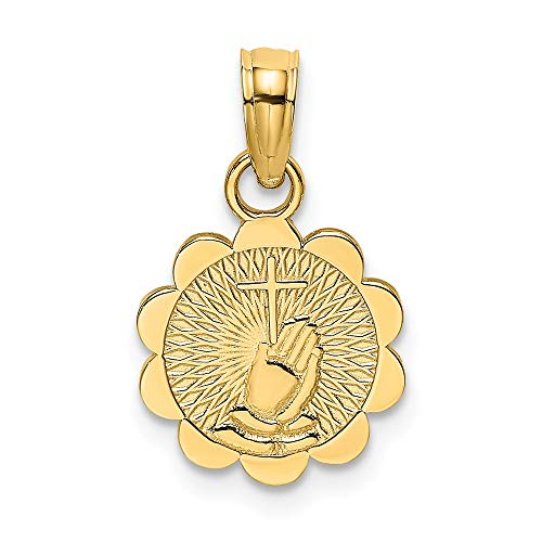 14k Yellow Gold Praying Hands Cross Religious On Scalloped Round Disk Pendant Charm Necklace H Fine Jewelry Gifts For Women For - 14k Hands Charm Praying