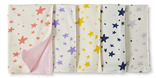 Moon and Back by Hanna Andersson Baby 5-Pack Organic Cotton Reversible Burp Cloth, Pink, One Size ()