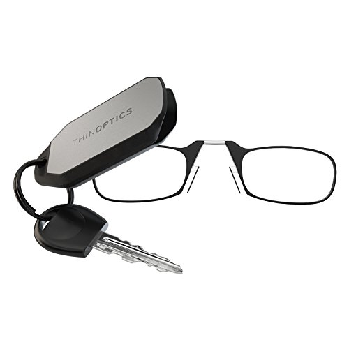 ThinOPTICS Reading Glasses + Keychain Fob | Black Frames, 1.00 Strength, Lifetime - Sum Glasses
