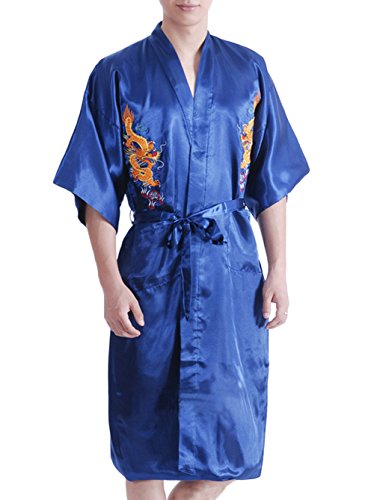 TLIH Men\'s Chinese Dragon Pattern Embroidered Kimono Yukata Robe ...