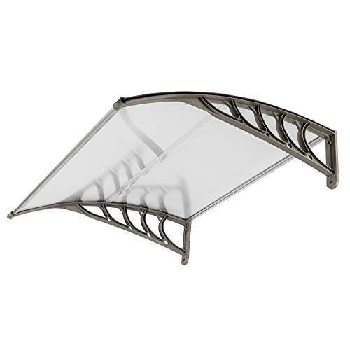 FCH Window Awning Door Canopy, 40' x 40' Window Awning Overhead Door Modern Polycarbonate Cover Outdoor Front Door Patio Canopy UV Rain Snow Sunlight Protection Hollow Sheet/Silver & Gray