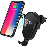XINLON Fast Wireless Car Charger Air Vent Phone Holder Gravity Car Mount Fast Charging for Samsung Galaxy S8, S7/S7 Edge, Note 8 5 and iPhone X, 8/8 Plus|Standard Charge for All QI-Enabled Devices