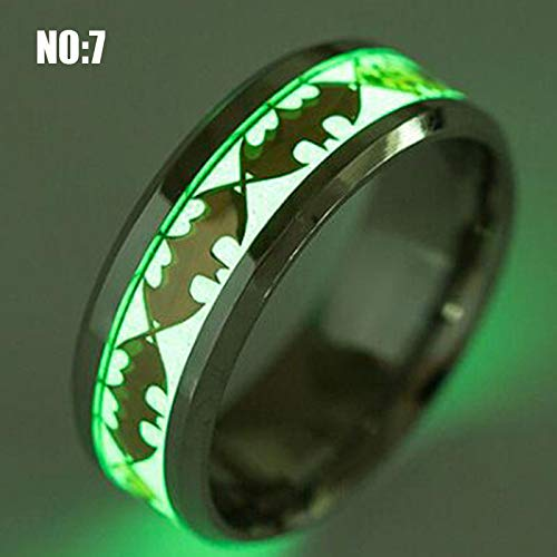 Amazon.com: 14 Kinds The Lord of Luminous Fluorescent Glowing Skeleton Engagement Wedding Ring Men Stainless Steel Finger Rings for Women (Batman) (10): ...