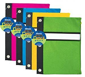 BAZIC Bright Color 3-Ring Pencil Pouch, Case Pack 24 by Bazic