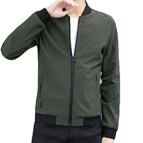 manicotto Verde Militare Di Del Tasca Zip Rkbaoye Lungo Uomini Size Basamento Outwear Plus Sottile Collare fxPw1OZq