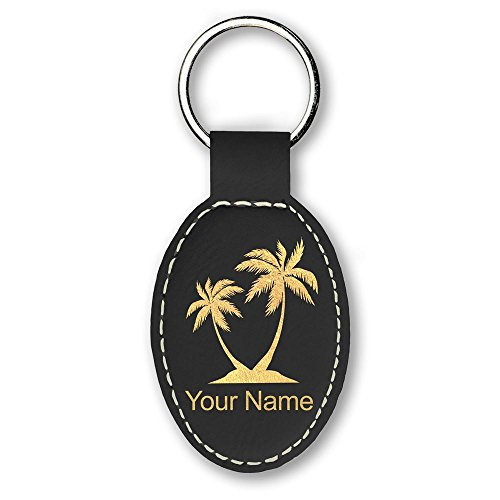 Oval Keychain, Palm Trees, Personalized Engraving Included (Black)