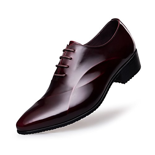 ZRO Men's Lace Up Formal Modern Oxford Dress Shoes Wine US 8.5 by ZRO