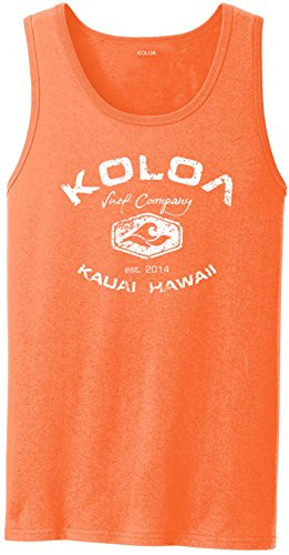 Cotton 2x1 Rib Tank Top - Koloa Surf Vintage Arch Logo Heavyweight Cotton Tank Top-NeonOrange/w-2XL