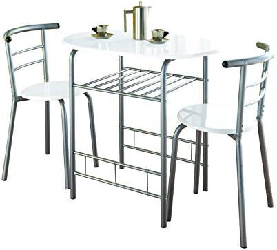 Mesa de comedor y 2 sillas con marco de metal 0075 - blanco brillante