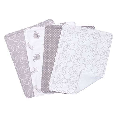 Trend Lab Circles 4 Piece Burp Cloth Set, Gray/White Circle Monogram Set