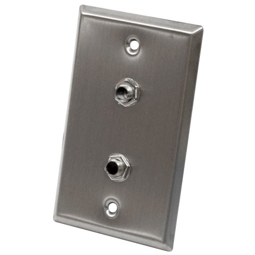 (Seismic Audio SA-PLATE21 Stainless Steel Wall Plate with Dual 1/4-Inch TRS Stereo Jacks)