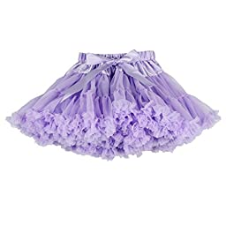 Buenos Ninos Girl\'s Solid Color Dance Tutu Pettiskirt Lavender 5-6T/100