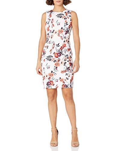 Calvin Klein Women's Petite Scuba Crepe Sleeveless Princess Seam Sheath Dress, Blush Multi, 6P
