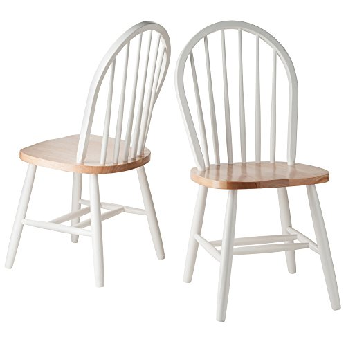 Winsome Wood Windsor Chair in Natural and White Finish, Set of 2 Butcher Block Table Chairs