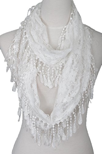Floral Fringe Lace Infinity Scarf (White)
